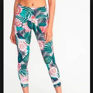 Tropical crop leggings 7/8 length medium Old Navy
